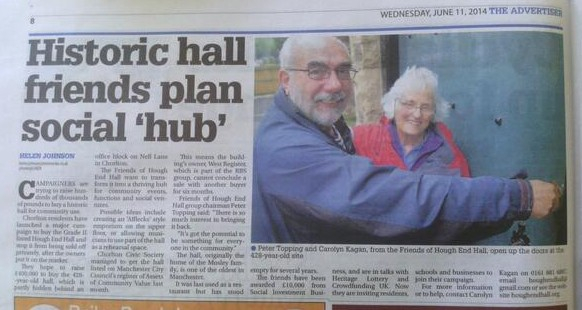 "The article, featuring Peter Topping and Carolyn Kagan cheekily ""unlocking"" the Hall."